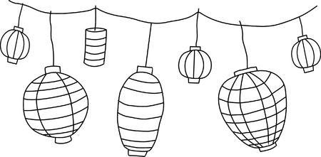 Big traditional chinese lanterns  Illustration