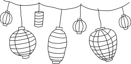 Big traditional chinese lanterns  Vector