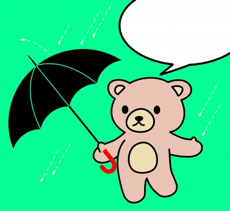 Teddy bear in the rain Vector