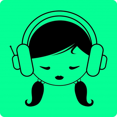 Girl s head in headphones - Vector icon isolated Vector