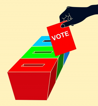 voter registration: Man s hand down the ballot in the ballot box