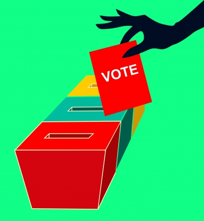 Girl s hand down the ballot in the ballot box  Vector