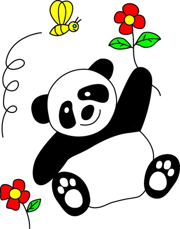 cute panda with smile  Vector