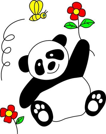 panda cub: cute panda with smile  Illustration