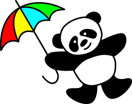 Cute  panda with umbrella Vector