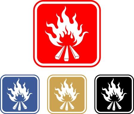Wooden camp fire  Illustration