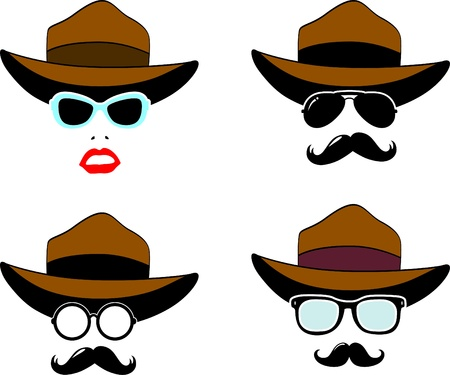 Retro Party set - Sunglasses, lips and hat Vector