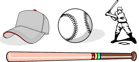 Vector set of baseball equipment Vector