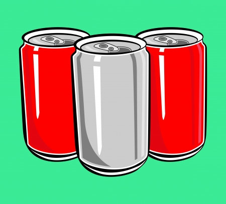 red and silver can vector Vector
