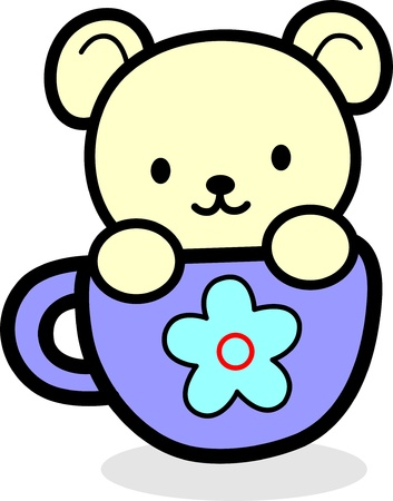 teddy bear in the mug Vector