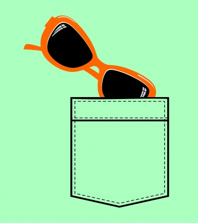 jeans shirt pocket with sunglasses royalty free cliparts, vectors