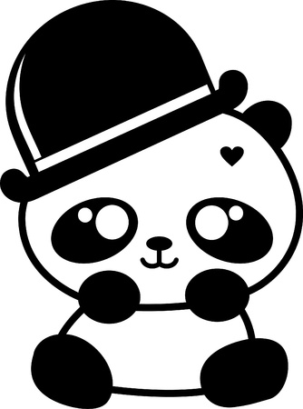 kawaii: cute little panda with hat