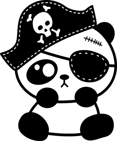 Pirate- little panda Vector