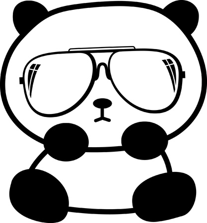 cute little panda with sunglasses
