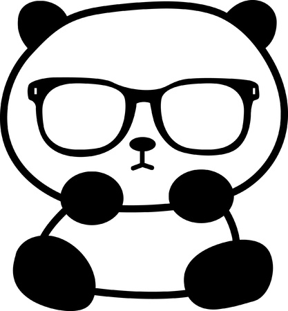 kawaii: cute little panda with sunglasses