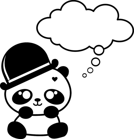 cute little panda with hat Vector