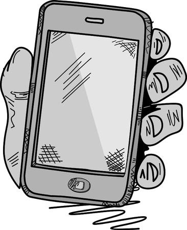 Smart Phone Mobile doodle  Vector
