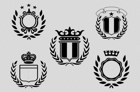 coat of arms shield:  Vintage Labels set Illustration