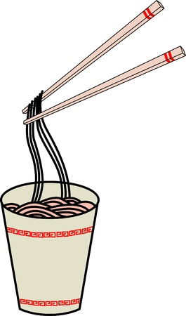 savoury: A hot cup of instant noodles   Illustration