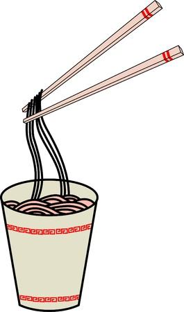instant noodles: A hot cup of instant noodles   Illustration
