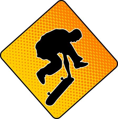 skate park:  Vector illustration, cute boy with skateboard Illustration