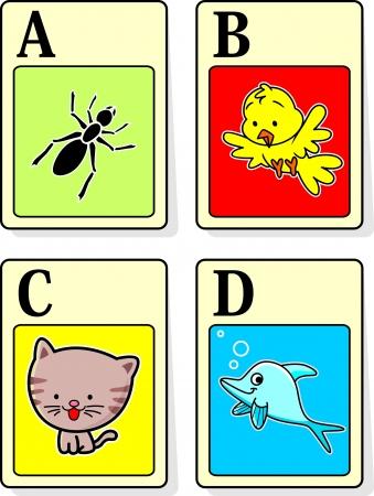 alfabeto con animales: Una ilustraci�n vectorial de los animales del alfabeto de la A a la D