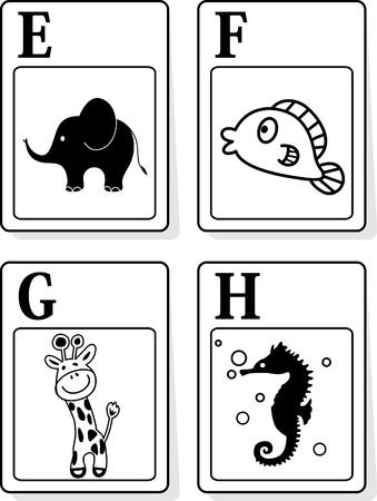 alfabeto con animales: Una ilustraci�n vectorial de los animales alfabeto de E a H Vectores
