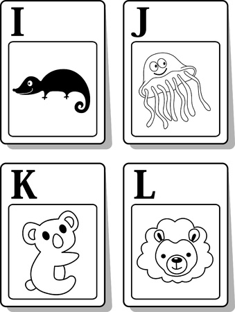 A illustration of alphabet animals from I to L Vector