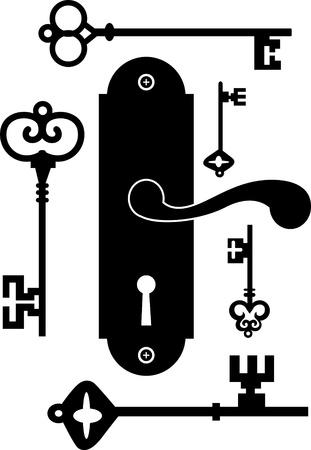 Türgriff Knob Latch Key Keyhole Standard-Bild - 19096592