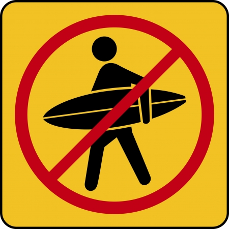 no surfing vector. vector surf signs Illustration