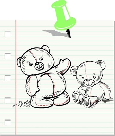 pinned: sheet of paper doodle of Teddy Bear pinned by pin Illustration