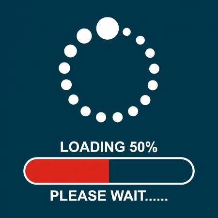 Loading, Streaming, Buffering, Play, Go  please wait     Illustration