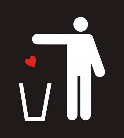 figure of person throwing garbage into a trash can Stock Vector - 19096452