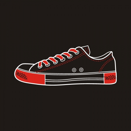 sneaker drawn in a sketch style  Side view of a gumshoe  Vector illustration  Vector