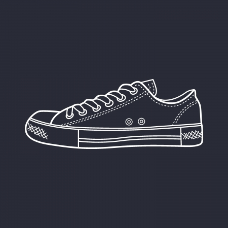 sneaker drawn in a sketch style  Side view of a gumshoe  Vector illustration