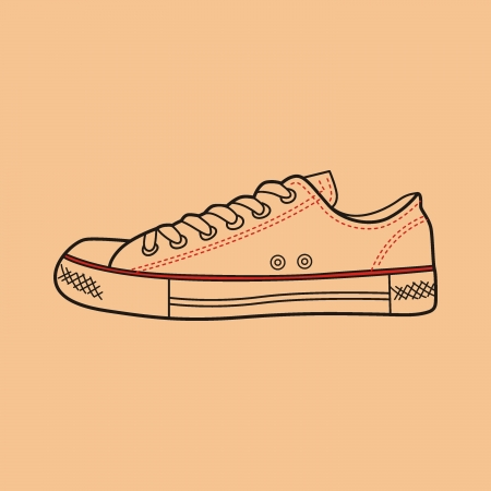 simplification: sneaker drawn in a sketch style  Side view of a gumshoe  Vector illustration