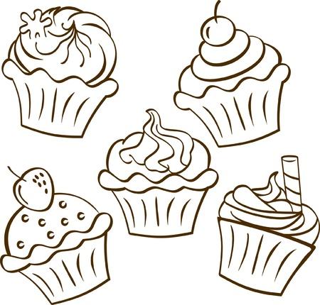 Cupcake in doodle Stil