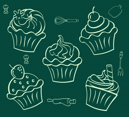 cupcake  in doodle style Stock Vector - 19375483