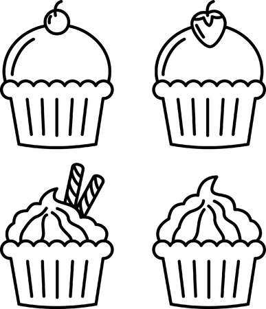 cupcake  in doodle style  Illustration