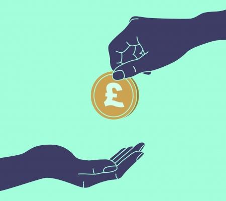 Hands Giving & Receiving Money Vector