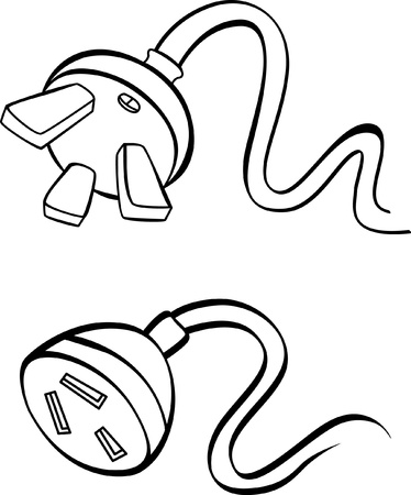 unplugged:  electric power cable with plug and socket