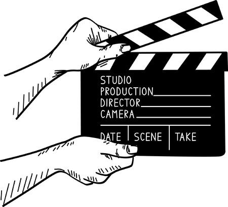 film set: illustration of film set clapper
