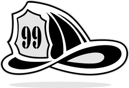 bombero de rojo: bombero de casco Vectores