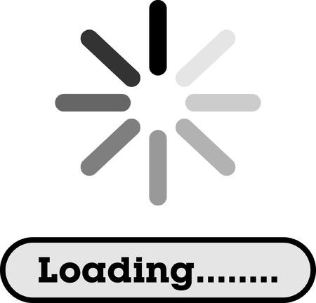 Loading, Streaming, Buffering, Play, Go  please wait     Illustration