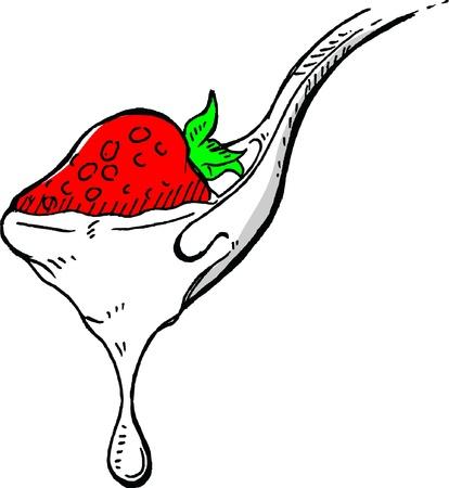 Delicious milk Covered Strawberries  Stock Vector - 20630019