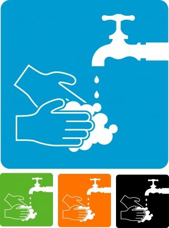 hospital germ: wash hands sign Illustration
