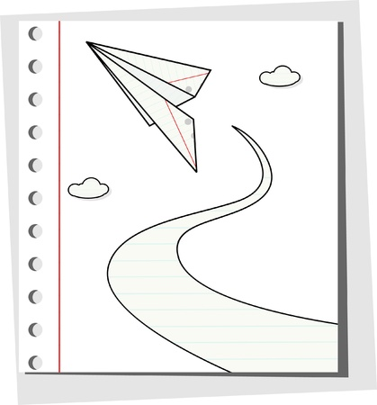 Paper plane with clouds - illustration