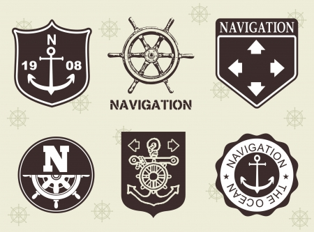 ocean and navigation labels  Vector