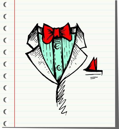 dressy: Doodle Vector esmoquin con pajarita Vectores