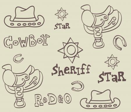 western theme: Cowboy accessories vector illustration